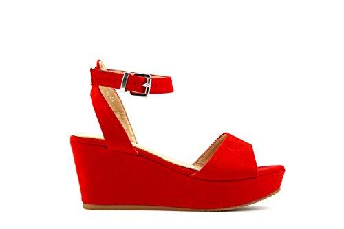 Modelisa - Sandalia Cuña Plataforma Mujer (36, Rojo)