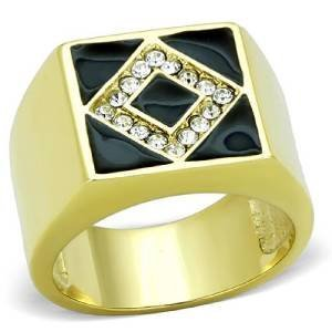 Cut Princess White Herren-ring Gold (YourJewelleryBox Herren Zirkonia Ring tK1613B Gr. 68 (21.6))
