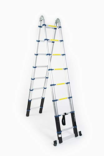 WORHAN 5.6 Telescopic Ladder folded into step ladders