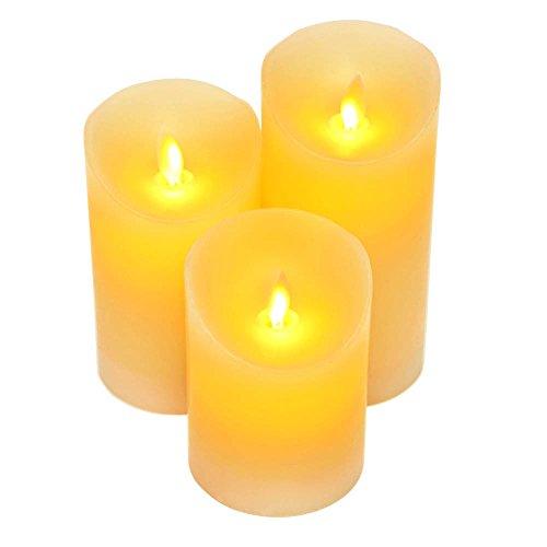 Doce velas con efecto parpadeante, sin llama velas de cera con LED Set de 3para decoración del hogar, las partes acontecimientos