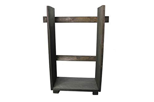 Estantería de madera para chimenea chimenea chimenea Soporte de madera de madera...