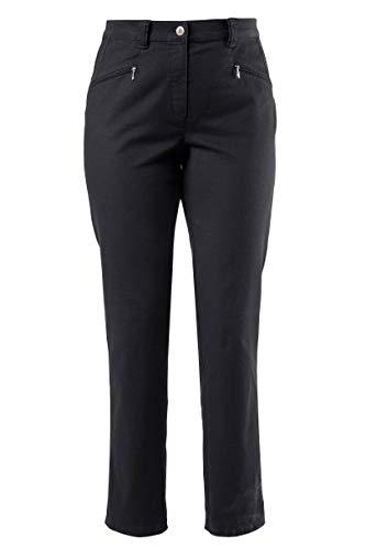 ULLA POPKEN 624655 Pantaloni da Donna Taglie Fino 64 Anni Mony Gamba Dritta e Comfort con Cerniera Vita Elastica e Cotone Nero 58