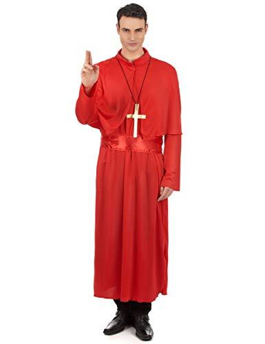 KULTFAKTOR GmbH Edler Priester Kostüm Kardinal rot Einheitsgröße - Kardinal Priester Kostüm
