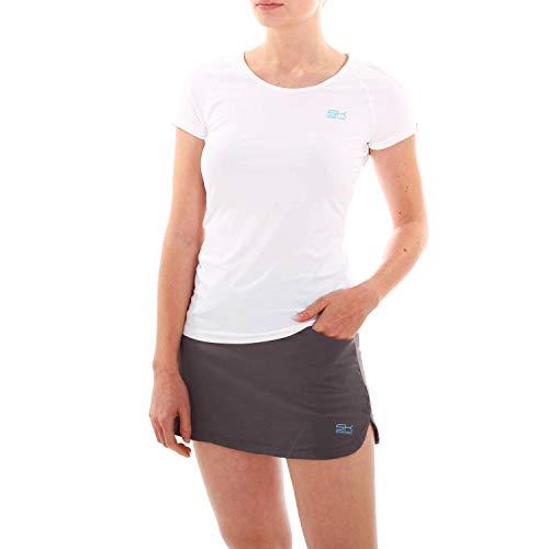 Sportkind Mädchen & Damen Tennis, Fitness, Sport T-Shirt, Weiss, Gr. 140 - Mädchen Tennis Shirt