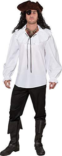 Ahoi Kostüm Piraten - Karneval-Klamotten Piraten-Kostüm Piraten-Hemd Rüschenhemd weiß Herren-Kostüm Pirat Abenteuer Größe 56/58