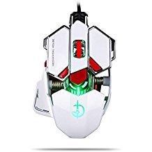 kuiyn pubg FPS Moba (Gaming Maus USB wired [pubg Modus] [4.000, 9Ebenen verstellbar] [programmierbar] [RGB Atmen Licht] Ergonomische optische, Spiel Computer Mäuse mit 10Tasten, für PC Games & E-Sport-, weiß -