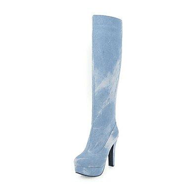 RTRY Scarpe donna denim Novità Inverno moda Stivali Stivali Chunky tallone punta tonda Thigh-High scarponi per abiti da sposa blu navy blu scuro US5 / EU35 / UK3 / CN34