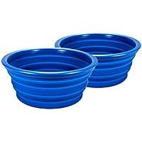2 cuencos de silicona para camping, picnic, senderismo, plegable azul