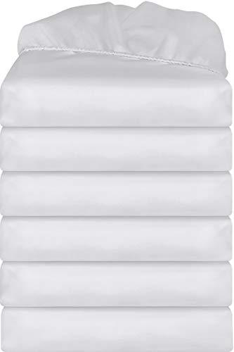 Utopia Bedding Lenzuola con Angoli (Set da 6) - Tasca Profonda - Microfibra Spazzolata - (Bianco, 135 x 190 cm)
