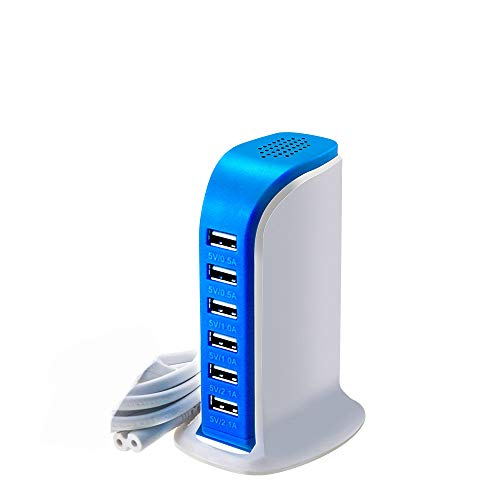 ZUZU Quick Charge 3.0 60W 6-Port USB Wall Charger, Multi-Port Desktop Charging Station für Galaxy S9 S8 S7 S7 Edge, Note 5/4 und Aipower für iPhone X 8 7 6s Plus, iPad,Blue Station Desktop Charger