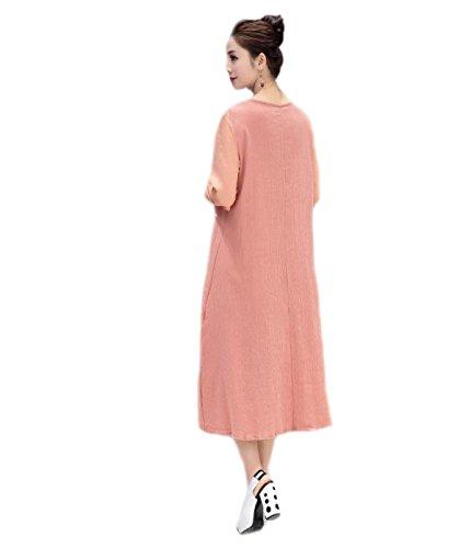 HGDR Frauen Sommer Herbst Frühling Baumwolle Nationalen Stil Blumendruck Lange Hülse Eine Linie Verlieren Einfaches Einfaches Langes Kleid Pink