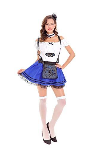 Oktoberfest Weiblich Deutsche Kostüm - Simmia Halloween Kostüm,Deutsches Erwachsenes Spielkostüm des Oktoberfest-Kostüms Weibliches, Blaues, XL