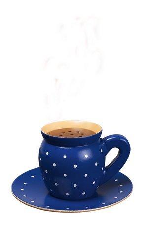 Räucherfigur Kaffeetasse Blau BxHxT = 15x8x15cm NEU Räuchertasse Rauchfigur Rauchmann Sammelfigur...