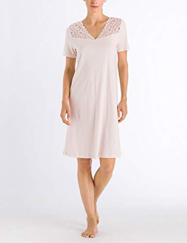 Hanro Damen Moments Nw 1/2 Arm 100 cm Nachthemd, Rosa (Crystal Pink 071334), 48 (Herstellergröße: L) - Hanro Moments Spitze
