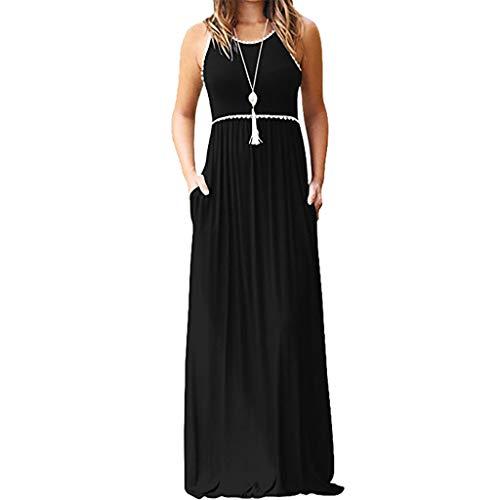 UFACE Damen Kurzarmtasche Langes Kleid Frauen O Ansatz BeiläUfige Taschen Kurzschluss HüLsen Boden LäNgen Lose Partei (2XL, ()