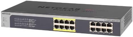 NETGEAR JGS516PE-100EUS Gigabit PoE Plus ProSAFE Web Managed (Plus) Switch (16-Port)