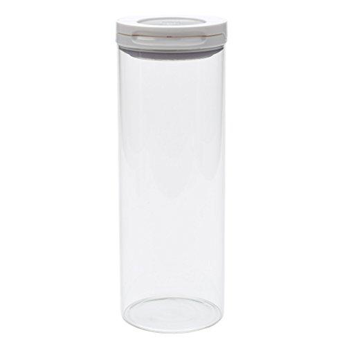 OXO Good Grips Flip Lock Glass Canister, 1-3/5-Quart/1-1/2-Liter, White 2.5 Quart-pop-container