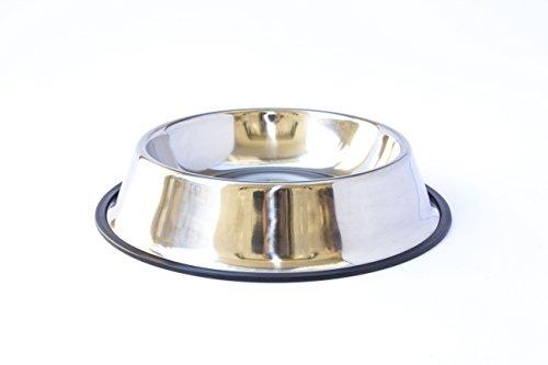 FORPET® - Ciotola 18cm in acciaio inox di facile pulizia, non ossidabile e dal profilo anti-ribaltamento, ideale per animali domestici di tutte le taglie. Con gomma antiscivolo nera.