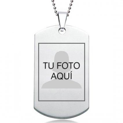 Colgante Chapa con Grabado Personalizado de Foto y Texto