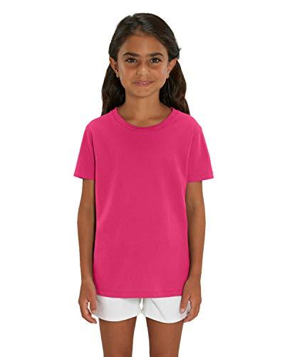 Hochwertiges Kinder T-Shirt aus 100% Bio-Baumwolle für Mädchen und Jungen. Eignet sich hervorragend zum bedrucken. (z.B.: mit Transfer-folien/Textilfolien), Size:134/146, Color:Raspberry -