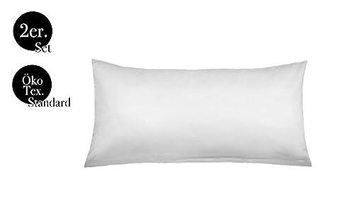 Kissenbezüge Doppelpack 2er Set von amato. Home Bettwäsche Kopfkissen-Bezüge Kissenhüllen Kissenbezug Kissen Sofakissen Bett Deko Weiß 40x80 cm 100% Baumwolle Cotton Kinderbettwäsche (40 x 80 cm, Weiß)