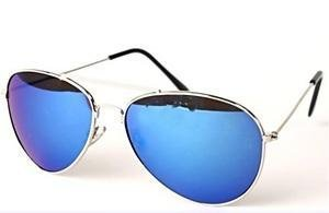 Silver Metal Frame Aviator Sunglasses, Blue Tinted Reflective Revo Lens, With Free Yellow Neck Cord