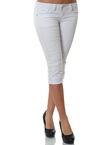 Damen Capri Jeans Kurze Hose Sommerhose DA 13954 Weiß L / 40 - Capri-jeans Weiße