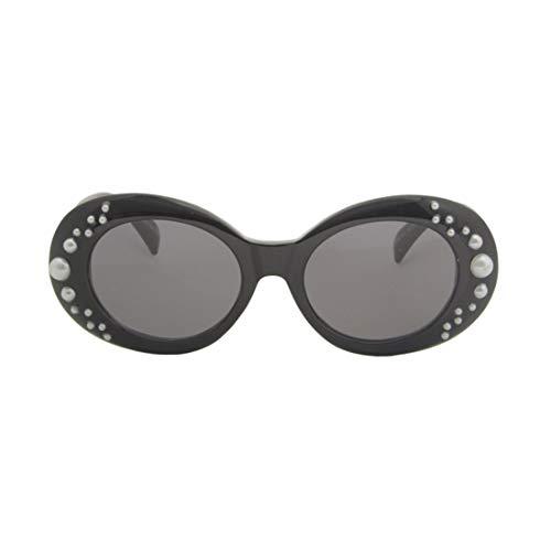 Polarisierte Sonnenbrille mit UV-Schutz Persönlichkeit Perle Oval Kinder Sonnenbrille Kunststoff Spiegelrahmen Sicherheitsmaterial Sonnenbrille Mädchen Baby Sonnenbrille 3 bis 12 Jahre alt. Superleich