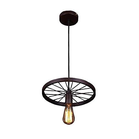 Industriel Rétro Style Lustre Créatif Décoration Boutique Conception Pendentif Métal Roue Luminaire , 1