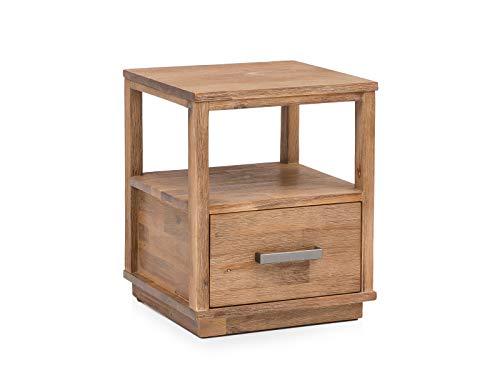 Woodkings® Nachttisch Woodville Akazie gebürstet Schlafzimmer Massivholz Beistelltisch Nachtkommode Design Massive Naturmöbel Echtholzmöbel günstig