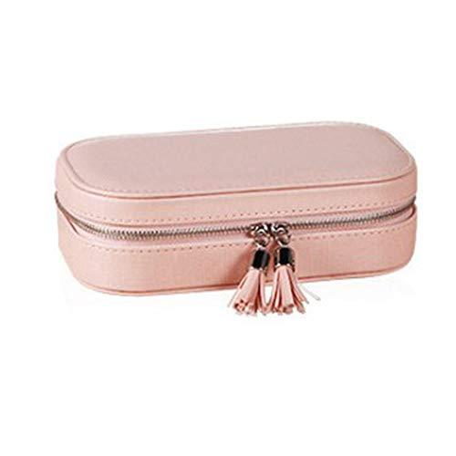 Pucidder Tragbare Reise-Schmuck-Organizer-Tasche, Kleine Schmuckschatulle mit Spiegel für Ringe, Halsketten, Armbänder, Ohrringe (Pink) -