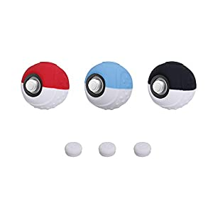CHIN FAI Silikonhülle für Nintendo Switch Poké Ball Plus Controller, Anti-Rutsch-Schutzhülle mit Daumensticks für Pokemon Lets Go Pikachu Eevee Pokeball Game – 3 Pack