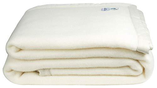 Coperta in 100% pura lana vergine lambswool - marchio woolmark - beige (singola)