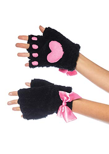 Leg Avenue 217022001 Plüsch Kitty Pfote Fingerloser Handschuh, Damen, Schwarz, Einheitsgröße: EUR 36-40 -