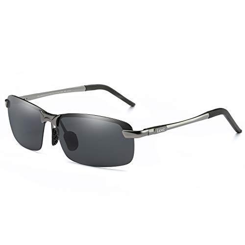 LZXC Herren Polarisiert Autofahren Sonnenbrille Outdoor Sportbrille Federscharnier AL-MG Metallische Graue Rahmen Linse Schwarz für Männer