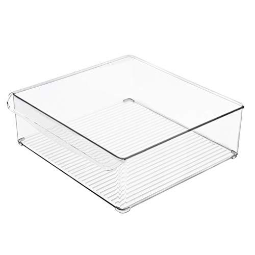 BESTONZON Klare Lagerung Kühlschrank Bins Rechteck Form Stapelbar Kühlschrank Organizer Bins Sorting Container Box für Kühlschrank Gefrierschrank Pantry Küche Größe L
