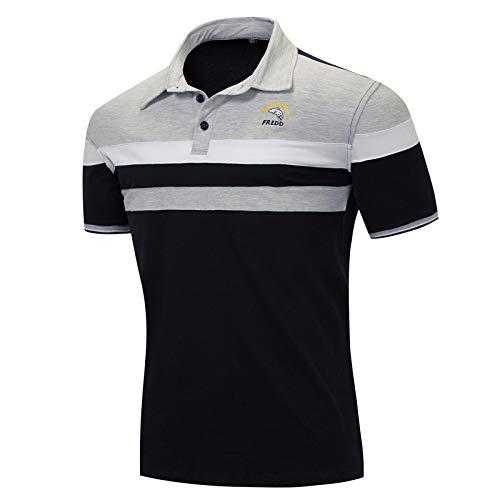 LEOCLOTHO Herren Poloshirt Kurzarm Golf Polohemd Patchwork Sommer T-Shirt mit Gestreift Polo Shirt Grau XL - Grau Gestreiftes Shirt