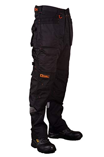 Black Hammer Mens Work Trousers Multi Pockets Cargo Heavy Duty Triple Stitched with Cordura Reinforcing Stress Points and Knee Pad Pockets Phenomenal Adult Workwear Trousers
