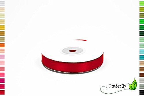 25m Rolle Satinband 12mm ( rot 250 ) // Deko Band Satin Geschenkband Schleifenband Dekoband Dekoration Hochzeit Taufe