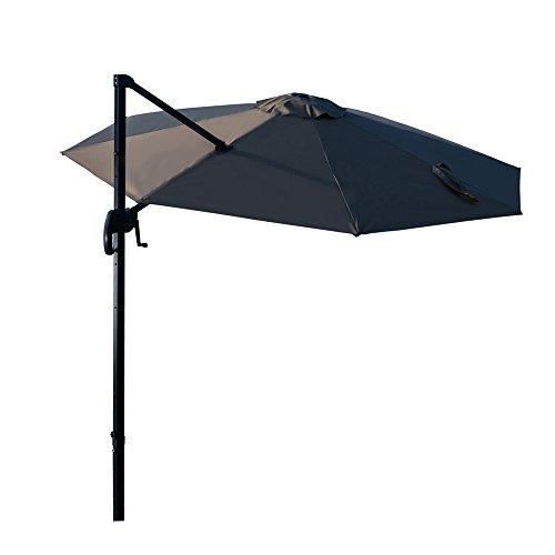 Ziigo Sonnenschirm Rechteckig Ampelschirm 295cm Schirm Balkon mit Handkurbel UV-Schutz Bespannung Marktschirm Rechteckig Knickbar Gartenschirm Quadratisch 2,4 Meter Hoch Grau