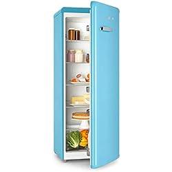 Klarstein Irene XL • Refrigerador 242 L • Regulable no gradual de 0 a 10 °C • Diseño retro • Vint-Age Concept • 4 niveles • Iluminación interior • Pies de altura regulable • Clase A+ • Azul