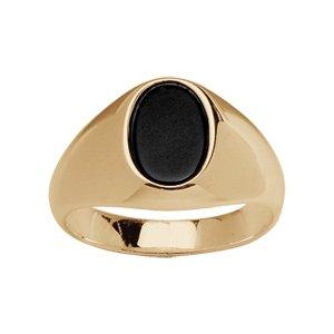 1001 Bijoux - Chevalière plaqué or plateau ovale noir - tour de doigt 66