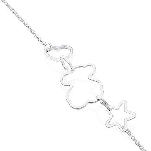 Imagen de tous pulsera cadena mujer plata de primera ley con siluestas estrella, corazón y oso, largo 17,5 cm alternativa