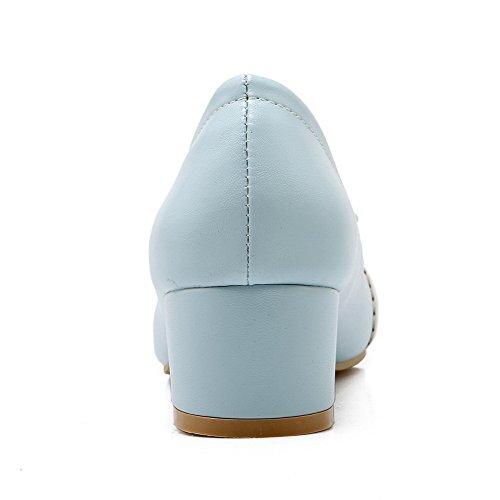 AgooLar Damen Niedriger Absatz Weiches Material Ziehen Auf Rund Zehe Pumps Schuhe Blau