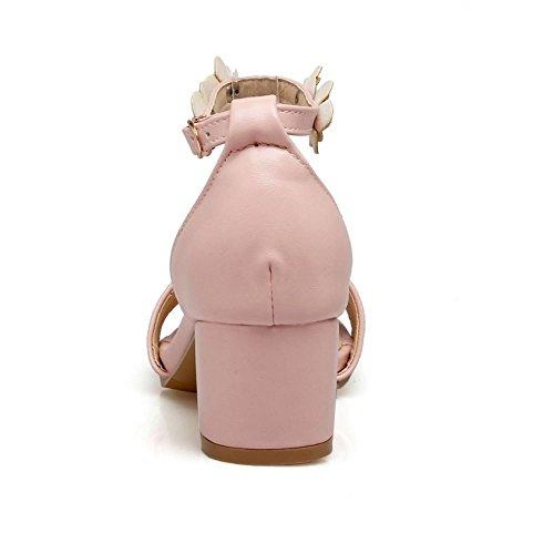 COOLCEPT Femme Mode Sangle De Cheville Sandales Bout Ouvert Talon Bloc Chaussures Fleurs Rose