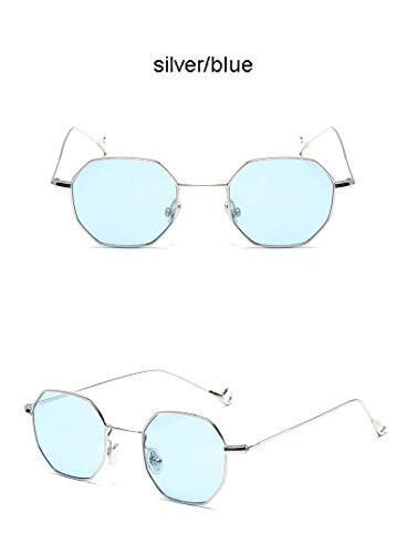 Aprigy Steampunk Polygon-Form-Sonnenbrille-Frauen-M?nner Weinlese-Luxus-Marken-Entwerfer-freie Objektiv-Sonnenbrille Hexagon Metallrahmen Brillen [Silber Blau]