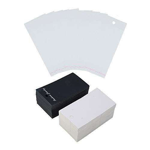 Stück Papier Schmuck Ohrringe Ohrstecker Display-Karten mit 200 Stück Opp Zellophan Selbstklebende Taschen, White & Black ()
