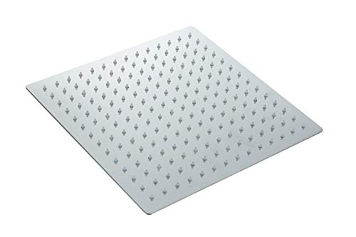 Fyeer led - duschköpfe 12 Zoll Quadratische Einbauduschköpfe Edelstahl Duschkopf Regenbrause Brausekopf aus Edelstahl mit Anti-Kalk-Düsen Spiegeleffekt, G1/2 Innere Faden (Quadratische, 12 Zoll)