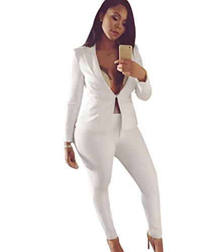 Jitong donna tailleur pantalone maniche lunghe cappotto tuta blazer top 2 pezzi slim fit giacca e pantaloni bianca s