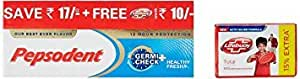 Pepsodent Germicheck Toothpaste - 2x150 g + Lifebuoy total  Rs 10